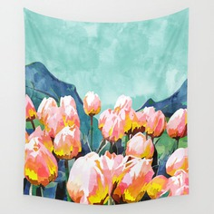 Holy Meadow #painting #nature Wall Tapestry #floral #watercolor #tulips #walltapestry #homedecor #society6 @83oranges @society6