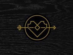 Dribbble - Heart & Arrow by Eight Hour Day #heart #texture #icon #gold #arrow #wood grain #monostroke