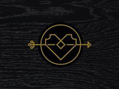 Dribbble - Heart & Arrow by Eight Hour Day #heart #texture #icon #gold #arrow #wood grain #monostroke