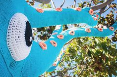 Yarn Bombed Tree Squid3 #squid #art #street