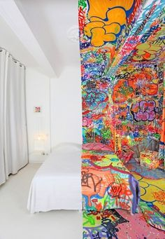 Panic Room - BIGADDICT #white #graffiti #bedroom #tag #hotel