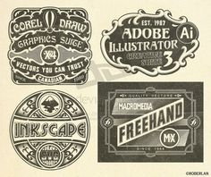 Vintage_Vector_Logos_by_roberlan.jpg (JPEG Image, 1024 × 861 pixels) #vector #illustrator #freehand #texture #vintage #applications #corel