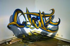 odeith anamorphic 3d graffiti letters plastic blue yellow tubes