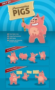 Presentation Pigs Character Illustrations #vector #illustrator #presentation #illustration #pigs #signs #character