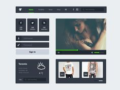 Free PSD Flat UI Kit