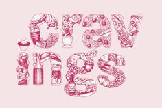Typography #pink #of #food #illustration #drawn #type #hand #friends #typography