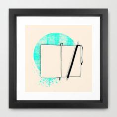 Blank Page - Framed Print #illustration #blank #page #moleskine