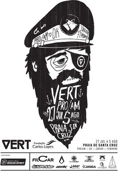 cartaz_vertpro2012 #ocean #black #illustration #sea #handmade #waves #typography