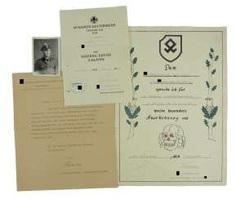 Certificate of probate of a char leader of the 2./ SS-freiwilligen-gebirgs-Jäger-Regiment 14