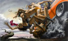 Take The Road to Nowhere by Nicola Verlato #crash #illustration #painting #art #america #surreal #car