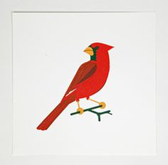 cardinal, red, bird, illustration, perch