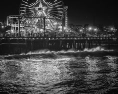 Santa Monica Pier at Night by Colin Gallagher #white #fairground #pier #black #photography #and