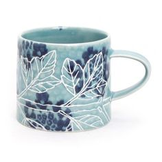 Shop: Brenda Quinn - Virburnum mug - The Clay Studio [I like this glaze technique] #product #porcelain #mug #pottery