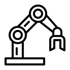 See more icon inspiration related to robot, robotic arm, mechanical arm, industrial robot, manipulator, mechanical, electronics, industrial, industry and factory on Flaticon.