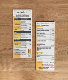 Schnitz on Behance #menu #print #eat #food #restaurant #wood #behance #layout #table