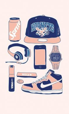 Lucas Jubb - My Stuff #sprite #snapback #design #graphic #hipster #casio #dunk #hiphop #illustration #nike #watch #sketch