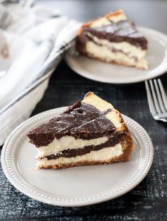 Layered Vanilla Chocolate Cheesecake