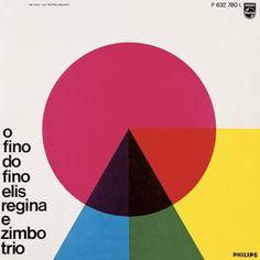 Capa de disco de 1965 - O fino do Fino. Autor: Carlos Prósperi. 31 x 31 cm. Linha do tempo do design gráfico no Brasil, p. 338
