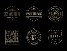 32 North Brewery by Steve Wolf #brewery #line #logos #branding #black #vintage #gold #typography