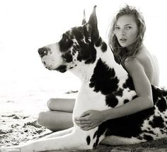 Herb Ritts, Kate Moss #woman #dog #photography #moss #kate
