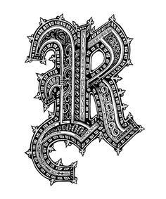 Letter R by Zach Johnson - Pen & Ink