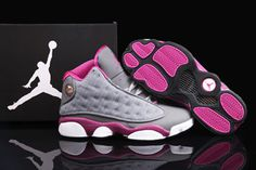 "AJ 13 Gs New Basketball Sneakers ""Fusion Pink\""/Cool Grey For Ladies Releasing at Michael Jordan Brand"