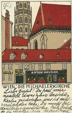wiener-werkstaette-postkarten.com #urban #silkscreen #handwriting #print #wiener #roofs #werkstaette #postcard #janke