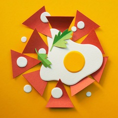 100 Paper Breakfasts depictssome of the world'smost-loved breakfasts - including pastries, eggs and dumplings - inthe form ofbrightly coloured paper. See more from this series at mindsparklemag.com