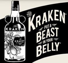 (13) Tumblr #liquour #white #typography #embellishment #black #and #kraken