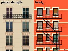 la façade Art Print by Paris vs New York | Society6 #york #paris #vs #new