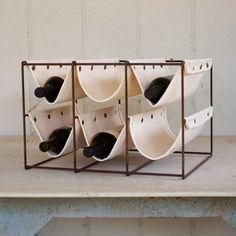 Canvas Sleeve Wine Rack - Unique Modern Furniture - Dot & Bo #wine rack #kitchen #handmade #home goods