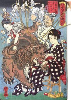 Japanese Ukiyo e: The lion falling in love. Kawanabe Kyōsai.