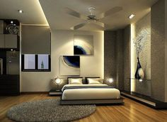 Amazing abstract paintings in bedroom