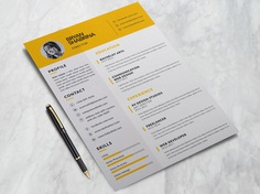Bryan Resume - Free Clean Yellow Resume Template