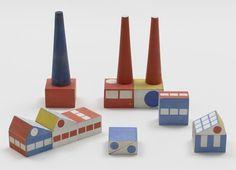 MoMA | The Collection | Ladislav Sutnar. Prototype for Build the Town Building Blocks. 1940-43 #1940s #ladislav #wood #building #prototype #blocks #sutnar