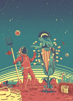 SIC on Behance #illustration #sci fi #design #bizarre #pulp #alien #astronaut #corn #pitchfork #planet