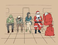 Happy holidays from NYC #train #text #line #phone #santa #card #christmas #subway #illustration #holiday #mobile #sitting #nyc #drawing