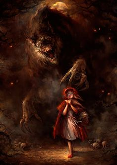 Fairytale art by Blaz Porenta - The Art Of Animation #red #riding #fairytale #illustration #wolf #painting #fable #hood #story