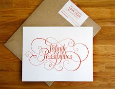 Eight Hour Day » Infinite Possibilities Print #script #card #print #christmas #letter #envelope