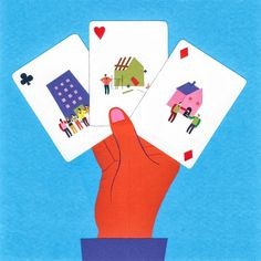 Veronique Joffre, colagene.com #house #card #color #hand #block #illustration #collage #cards