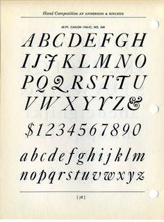 Caslon Italic type specimen #type #specimen #typography