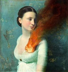 "Christian Schoel ""Portrait of a Heart"" #heart #smoke #burn #illustration #fire #painting"