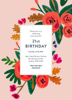 Floral Birthday - Birthday Invitations  #birthday #invitation #birthdayinvitation #paper #cards #digitalcard #design #floral #print #digital