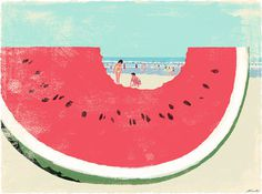 Book Travelers #illustration #beach #watermelon
