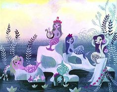 concept art by Mary Blair #mary #land #peter #illustration #disney #blair #pan #mermaids #never