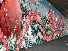 80 foot long murals are betting painted in DUMBO, Brooklyn (and you can see them in progress too) Yuko Shimizu #yuko