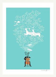 il_570xN.237537108.jpg 570×785 pixels #blue #deer #vector #poster