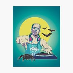 Monster Mash Photographic Print #posters #illustration #frankenstein #deejay #music #vinyl #digitalpainting #movie #horror