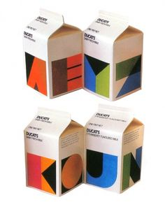 FROM ME TO YOU — Ducats Milk cartons designed by Heinz Grunwald c.... #packaging #milk #cartons