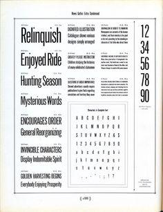 News Gothic Extra Condensed type specimen
